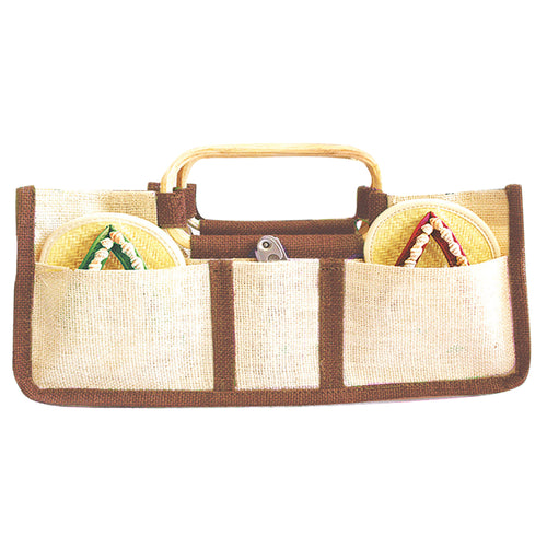Drinkwear Horizontal Jute Wine Tote, Natural