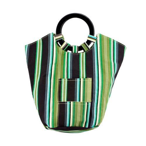 Drinkwear Green Striped Upright Canvas Wine Tote
