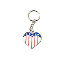 Load image into Gallery viewer, USA Flag Heart Key Chain Set of 12