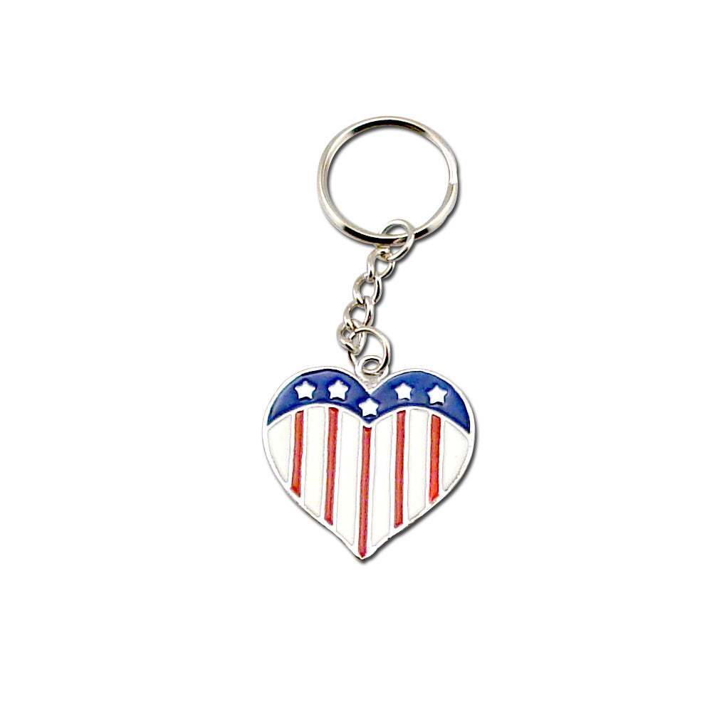 USA Flag Heart Key Chain Set of 12