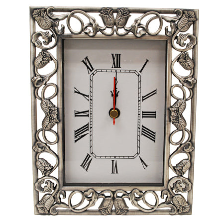 Flowers Pewter Clock