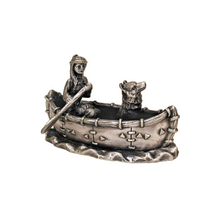 Indian Girl with Dog On Boat Figurine
