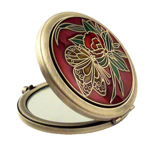 Butterfly Red Pewter Mirror, Silver