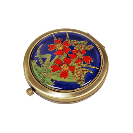 Flower Blue Pewter Mirror, Gold