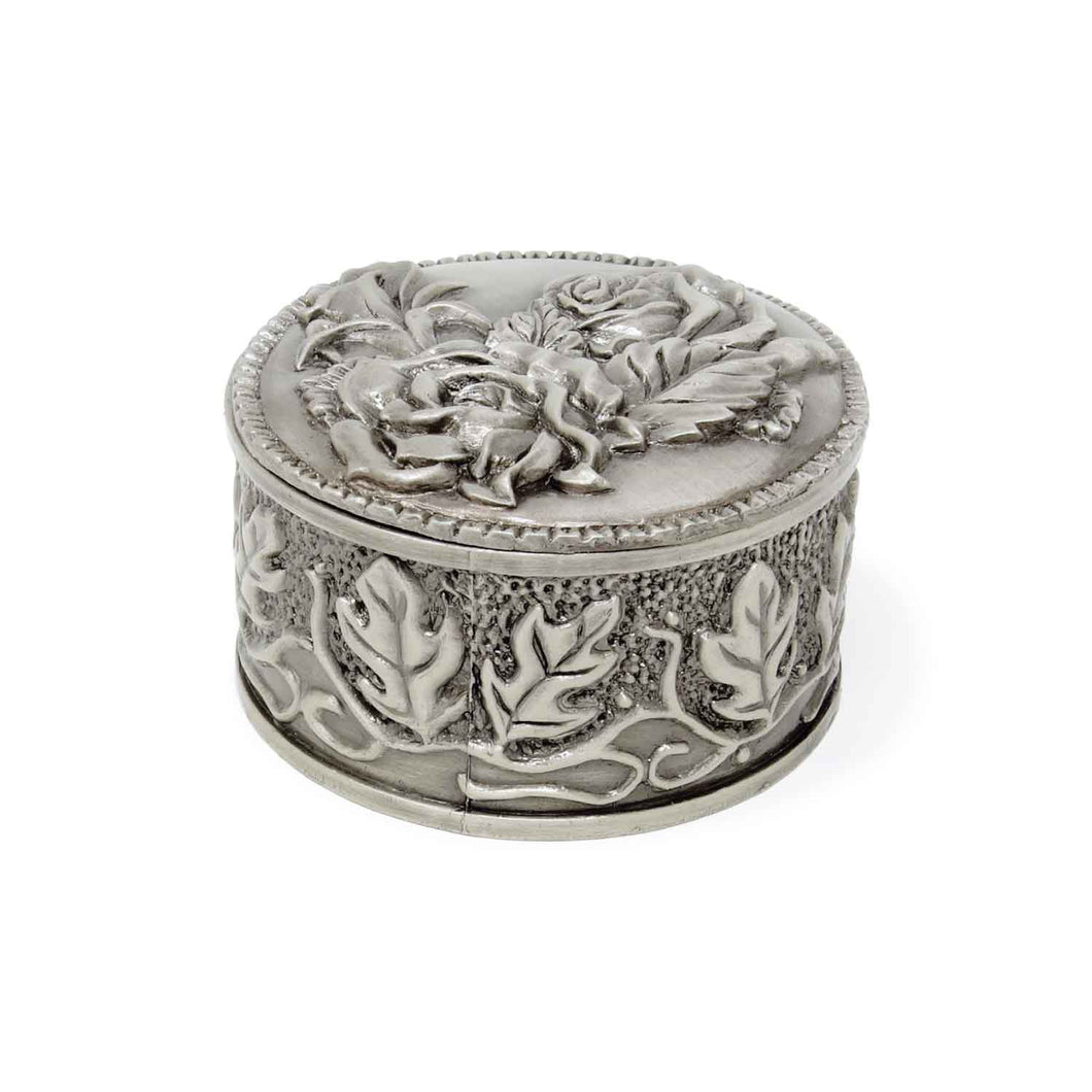 Vintage Rose Embossed Round Trinket Box