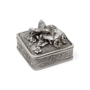 Vintage Hummingbird Square Trinket Box