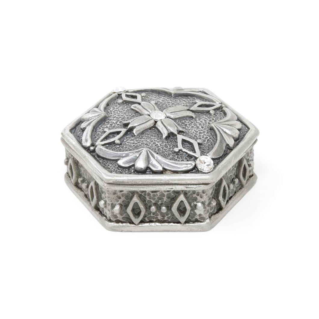 Vintage Hexagonal with 3 Crystals Trinket Box