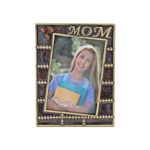 "Mom, Stitching Picture Frame, Gold/Brown, 3.5"" x 5"""