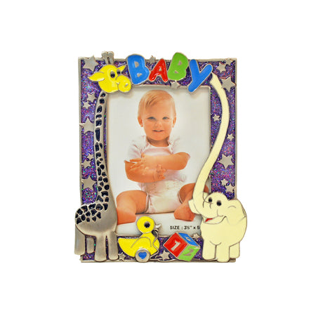 Baby with Animals Picture Frame, Purple, 3.5