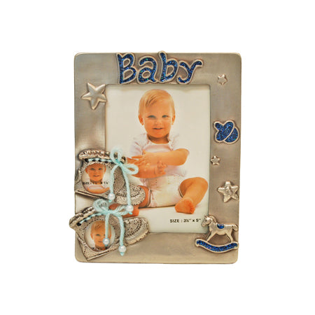 Baby Boy Shoe, 3 Holes Picture Frame