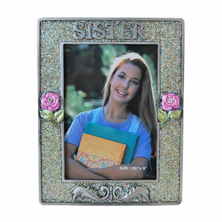 Sister Picture Frame, Silver/Glitter, 3.5