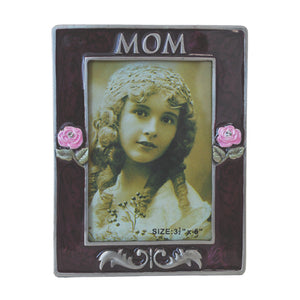 "Mom Picture Frame, Silver/Brown, 3.5"" x 5"""