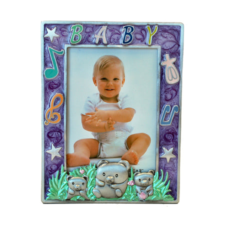 Baby Picture Frame, Purple, 3.5