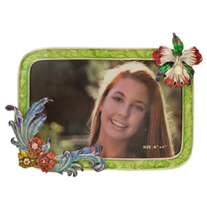 "Flower Picture Frame, Green, 4"" x 6"""
