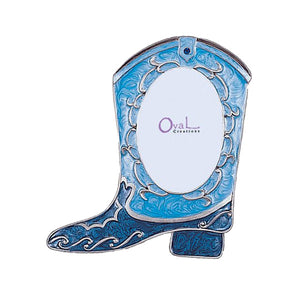 "Boot Picture Frame, Blue, 2"" x 3"""