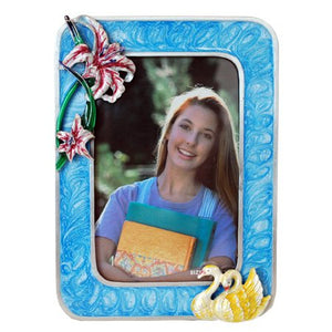 "Swan with Flowers Picture Frame, Blue, 3.5"" x 5"""