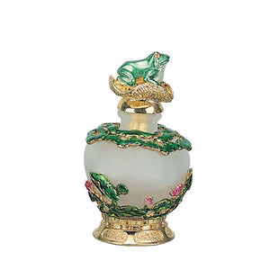 Frog with Gold Lily Perfume Bottle