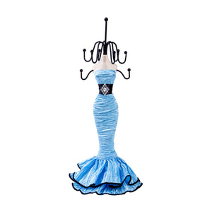 Elegant Black Belt Layered Dress Doll Jewelry Stand, Sky Blue 11""