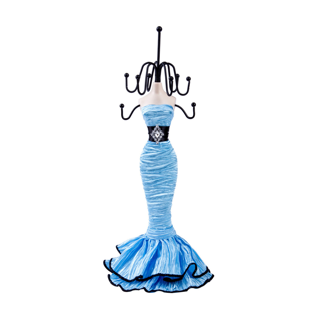 Elegant Black Belt Layered Dress Doll Jewelry Stand, Sky Blue 11