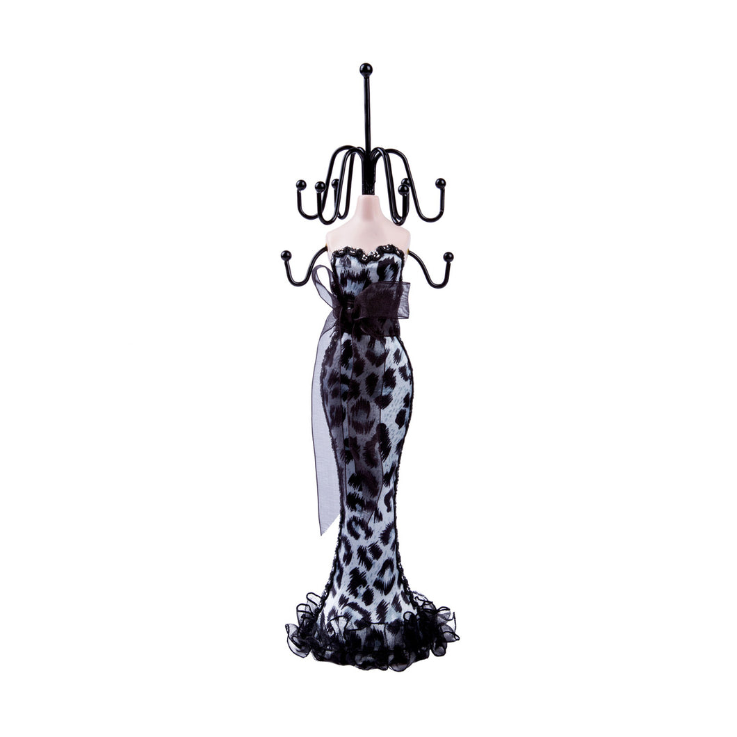 Cheetah Print Dress Doll Jewelry Stand, White 11