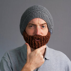 Beardo The Original Beard Hat, Grey Hat with Brown Beard