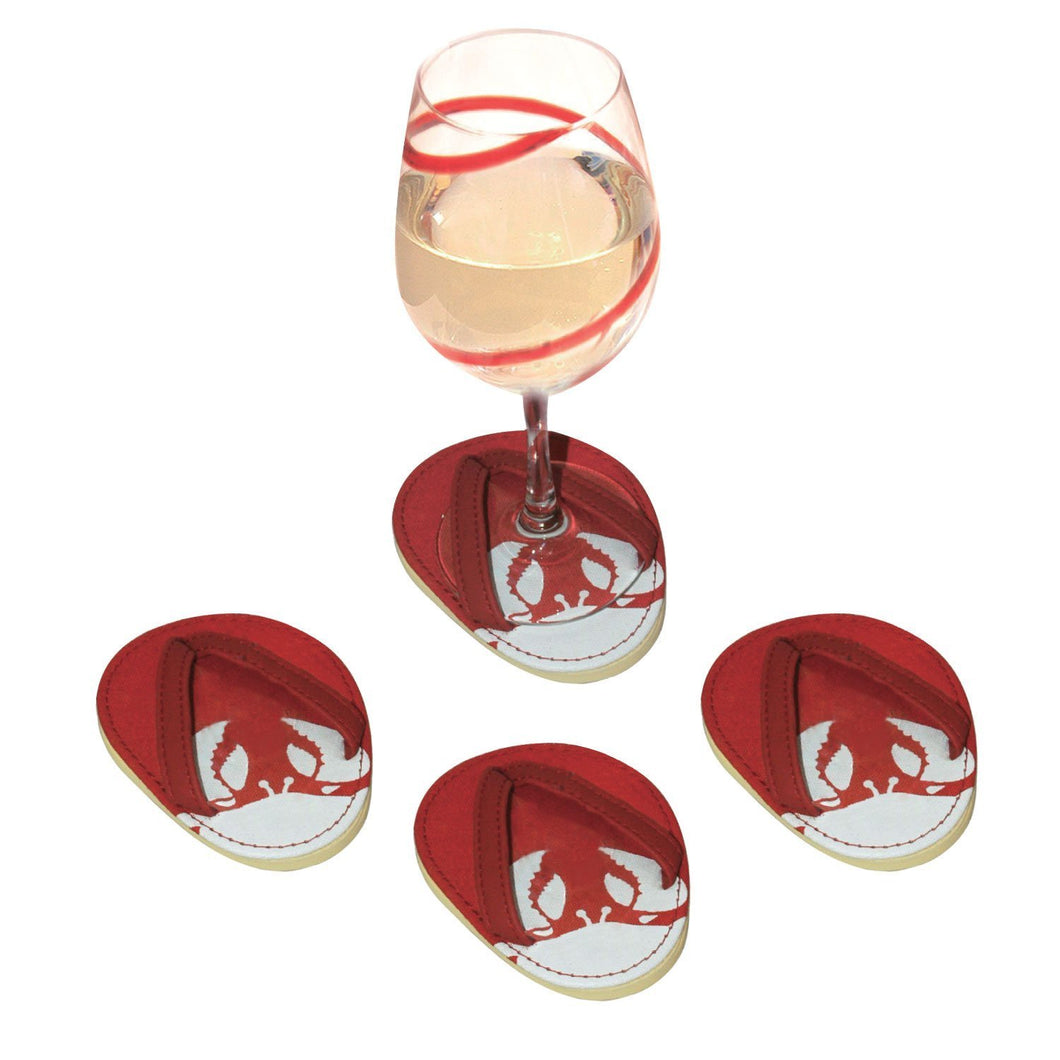 Drinkwear 4-Piece Red Crab Flip Flop Coaster