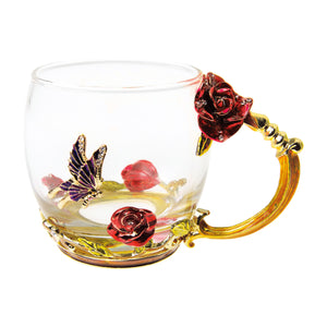 Gourmet Art Rose and Butterfly Enamel Glass Cup, 12 oz