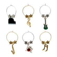 Load image into Gallery viewer, Wine Things 6-Piece All That Jazz Wine Charms, Painted