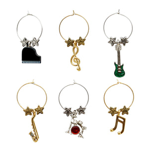 Wine Things 6-Piece All That Jazz Wine Charms, Painted