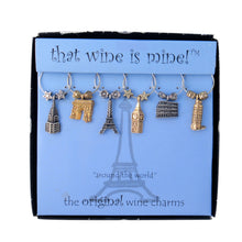 Load image into Gallery viewer, Wine Things 6-Piece Around The World Wine Charms
