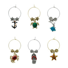 Load image into Gallery viewer, Wine Things 6-Piece By The Bay Wine Charms, Painted