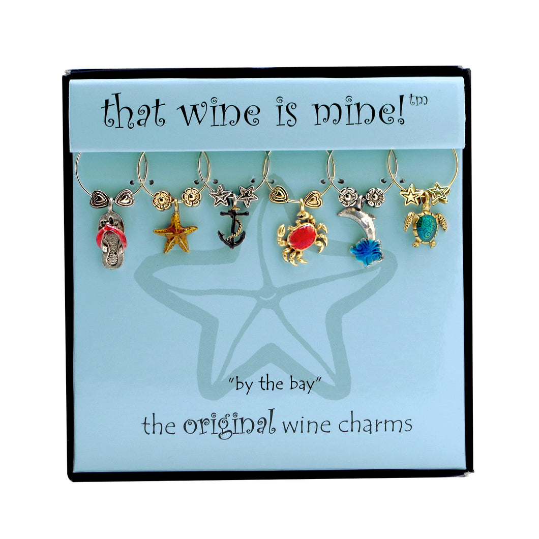 Wine Things 6-Piece By The Bay Wine Charms, Painted