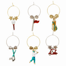 Load image into Gallery viewer, Wine Things 6-Piece Fore Wine Charms, Painted