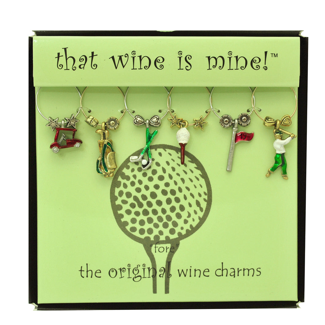 Wine Things 6-Piece Fore Wine Charms, Painted