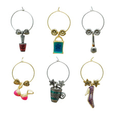 Load image into Gallery viewer, Wine Things 6-Piece Girls Rule Wine Charms, Painted
