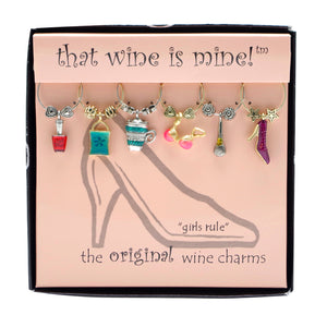 Wine Things 6-Piece Girls Rule Wine Charms, Painted