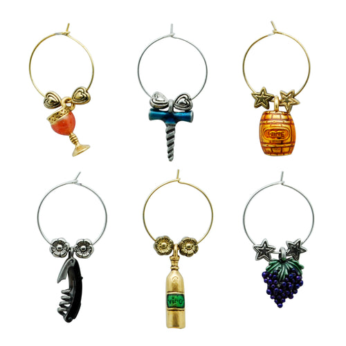 Wine Things 6-Piece Grapevine Wine Charms, Painted