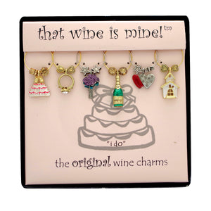 Wine Things 6-Piece I Do Wine Charms, Painted