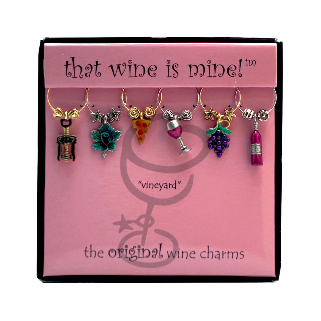 Wine Things 6-Piece Vineyard Wine Charms, Painted