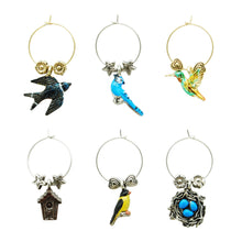 Load image into Gallery viewer, Wine Things 6-Piece For The Birds Wine Charms, Painted