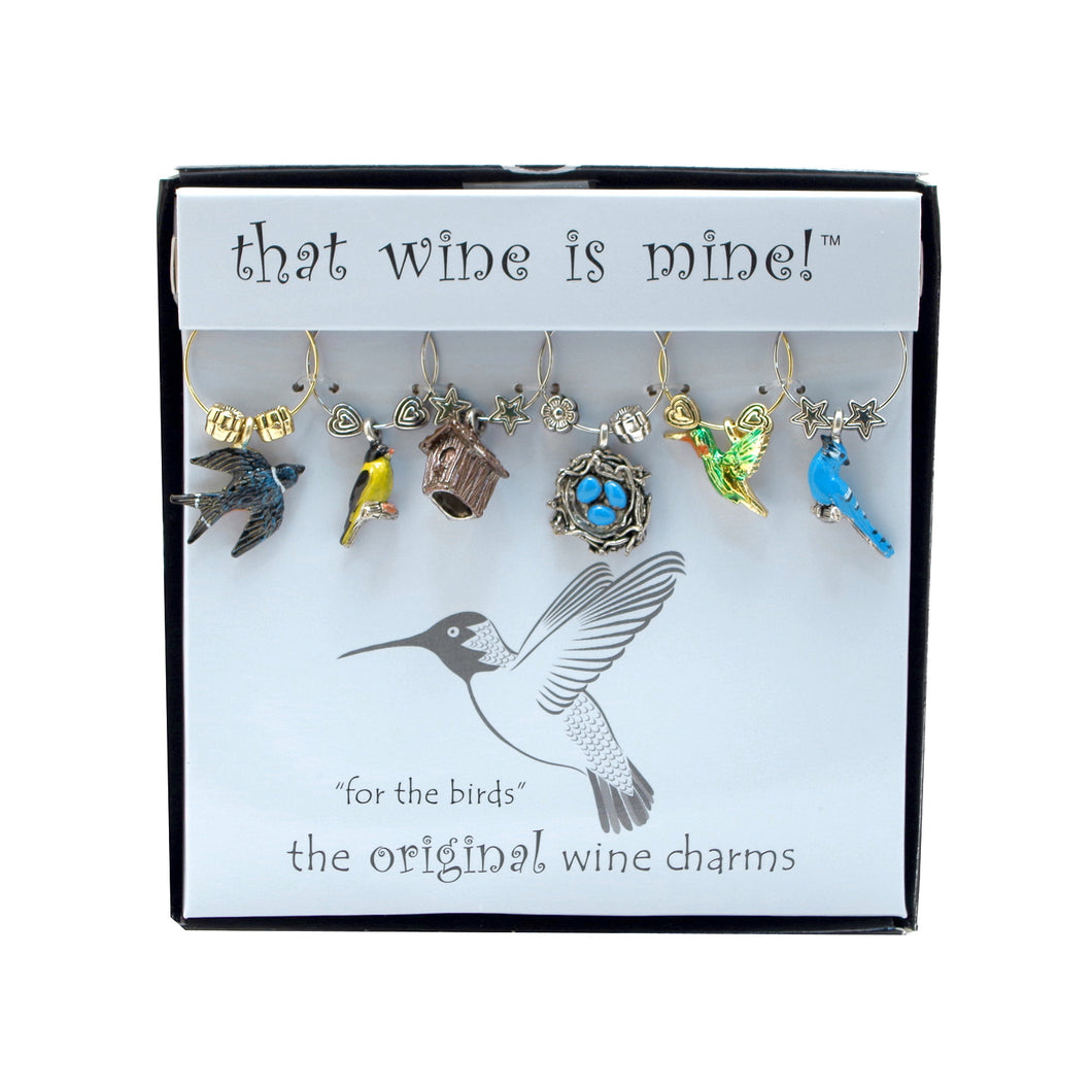 Wine Things 6-Piece For The Birds Wine Charms, Painted