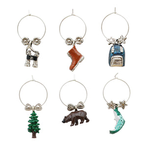 Wine Things 6-Piece Take A Hike Wine Charms, Painted