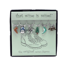 Load image into Gallery viewer, Wine Things 6-Piece Take A Hike Wine Charms, Painted