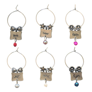Wine Things 6-Piece Pearls of Wisdom Wine Charms
