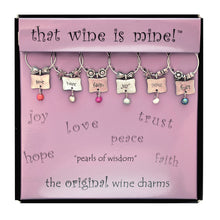 Load image into Gallery viewer, Wine Things 6-Piece Pearls of Wisdom Wine Charms