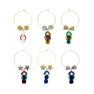 Wine Things 6-Piece Beach Party Wine Charms, Painted
