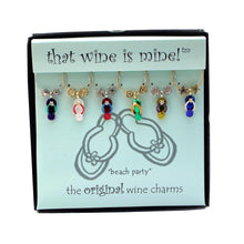 Load image into Gallery viewer, Wine Things 6-Piece Beach Party Wine Charms, Painted