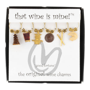 Wine Things 6-Piece Fortune Cookies Wine Charms, Painted