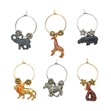 Load image into Gallery viewer, Wine Things 6-Piece Safari Wine Charms, Painted