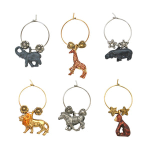 Wine Things 6-Piece Safari Wine Charms, Painted